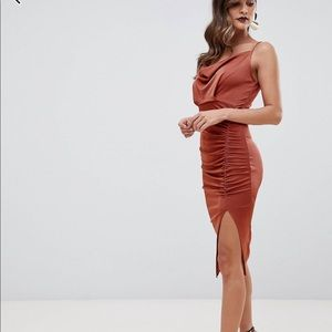 ASOS rusched cowl midi dress